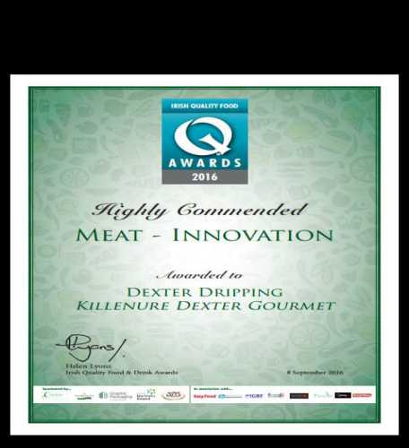 High commendation from the Irish Quality Food Awards